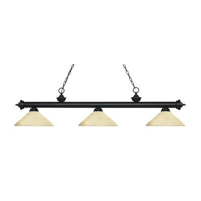 Zephyr 3-Light Billiard Light with Hanging Chain Finish: Matte Black, Shade Color: Golden Mottle