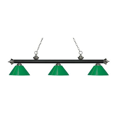 Zephyr 3-Light Adjustable Billiard Light Finish: Matte Black / Brushed Nickel, Shade Color: Green, Size: 14 H x 57 W x 14 D