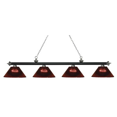 Zephyr 4-Light Adjustable Billiard Light Finish: Matte Black / Brushed Nickel, Shade Color: Burgundy