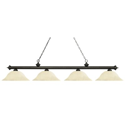 Zephyr Contemporary 4-Light Steel Billiard Light Finish: Golden Bronze, Shade Color: Golden Mottle, Size: 12.5 H x 82.5 W x 16 D