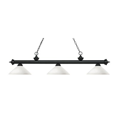 Zephyr 3-Light Billiard Light with Hanging Chain Finish: Matte Black, Shade Color: Matte Opal