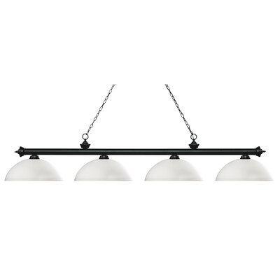Zephyr 4-Light Bowl Shade Billiard Light Finish: Matte Black, Shade Color: Matte Opal