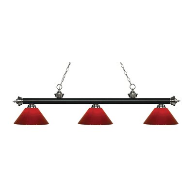 Riviera 3-Light Billiard Light Shade Color: Red, Finish: Matte Black / Brushed Nickel, Size: 14 H x 57 W x 14 D