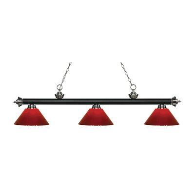Zephyr 3-Light Adjustable Billiard Light Finish: Matte Black / Brushed Nickel, Shade Color: Red, Size: 14 H x 57 W x 14 D