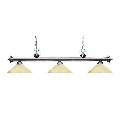 Zephyr Modern 3-Light Bell Shade Billiard Light Finish: Gun Metal, Shade Color: Golden Mottle