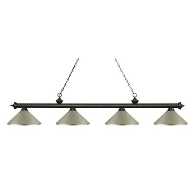 Zephyr 4-Light Cone Metal Shade Billiard Light Finish: Golden Bronze, Shade Color: Antique Silver