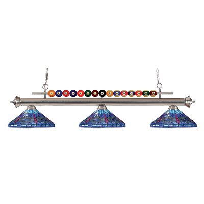 Chapa 3-Light Billiard Light Finish: Brushed Nickel, Size: 15 H x 60 W x 16 D