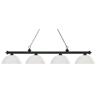 Zephyr 4-Light Bowl Shade Billiard Light Finish: Matte Black, Shade Color: White Linen