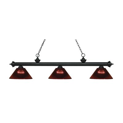 Zephyr Traditional 3-Light Steel Billiard Light Finish: Matte Black, Shade Color: Burgundy, Size: 14.25 H x 57.5 W x 14.25 D