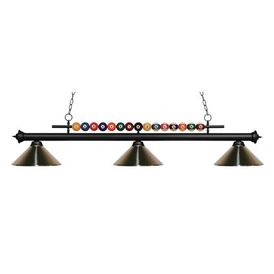 Chapa 3-Light Billiard Light Finish: Matte Black, Shade Color: Brushed Nickel