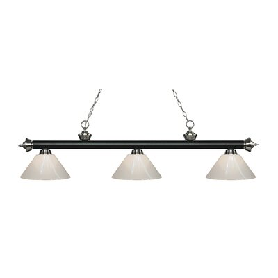 Zephyr 3-Light Adjustable Billiard Light Finish: Matte Black / Brushed Nickel, Shade Color: White, Size: 14 H x 57 W x 14 D