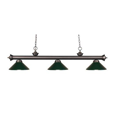 Zephyr Traditional 3-Light Billiard Light Shade Color: Dark Green, Finish: Olde Bronze