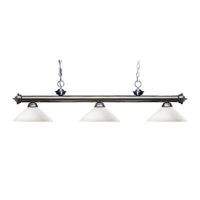 Zephyr Modern 3-Light Bell Shade Billiard Light Finish: Gun Metal, Shade Color: Matte Opal