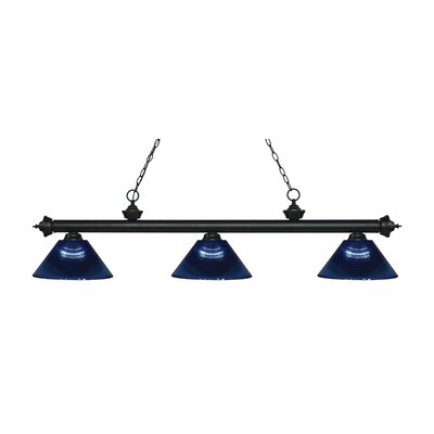 Zephyr Traditional 3-Light Steel Billiard Light Finish: Matte Black, Shade Color: Dark Blue, Size: 14.25 H x 57.5 W x 14.25 D