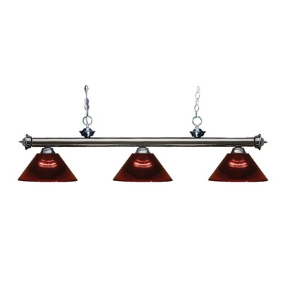 Zephyr Contemporary 3-Light Cone Shade Billiard Light Finish: Gun Metal, Shade Color: Burgundy