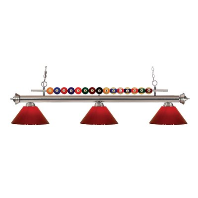 Chapa 3-Light Billiard Light Finish: Brushed Nickel, Shade Color: Red