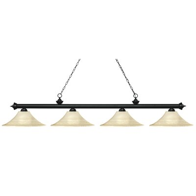 Zephyr 4-Light Bell Shade Billiard Light Shade Color: Golden, Finish: Matte Black