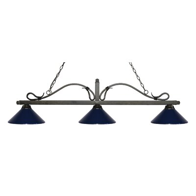 Melrose 3-Light Billiard Light Finish: Golden Bronze, Shade Color: Navy Blue