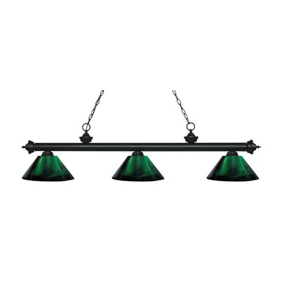 Zephyr Traditional 3-Light Steel Billiard Light Finish: Matte Black, Shade Color: Green, Size: 14.25 H x 57.5 W x 14.25 D