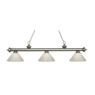 Zephyr 3-Light Adjustable Billiard Light Finish: Antique Silver, Shade Color: White, Size: 14.25 H x 57 W x 14 D