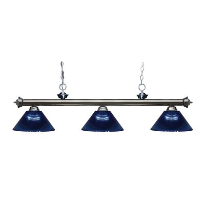 Zephyr Contemporary 3-Light Cone Shade Billiard Light Finish: Gun Metal, Shade Color: Dark Blue
