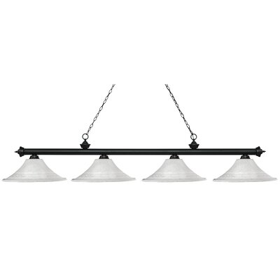 Zephyr 4-Light Bell Shade Billiard Light Shade Color: White, Finish: Matte Black