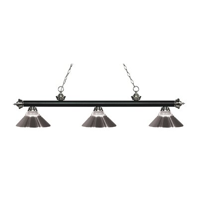 Riviera 3-Light Billiard Light Shade Color: Brushed Nickel, Finish: Matte Black / Brushed Nickel