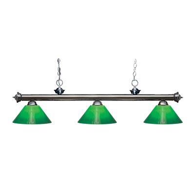 Zephyr Traditional 3-Light Cone Glass Shade Billiard Light Finish: Gun Metal, Shade Color: Green Cased, Size: 15 H x 57 W x 14 D