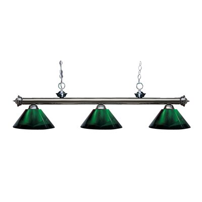 Zephyr Contemporary 3-Light Cone Shade Billiard Light Finish: Gun Metal, Shade Color: Green