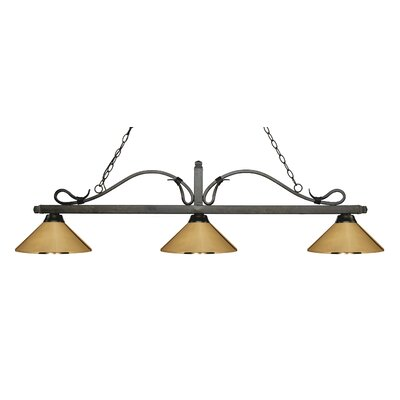 Melrose 3-Light Billiard Light Finish: Golden Bronze, Shade Color: Polished Brass