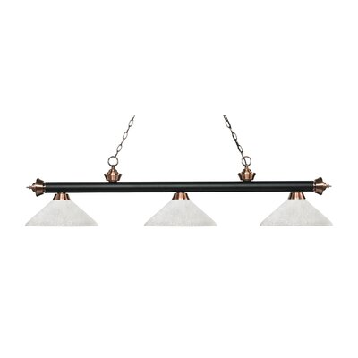 Zephyr 3-Light Billiard Light with Hanging Chain Finish: Matte Black / Antique Copper, Shade Color: White Linen