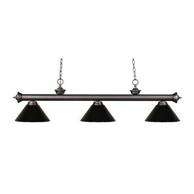 Zephyr Modern 3-Light Steel Billiard Light Shade Color: Black, Finish: Olde Bronze