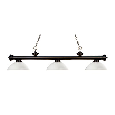 Riviera 3-Light Billiard Light Shade Color: Matte Opal, Finish: Bronze