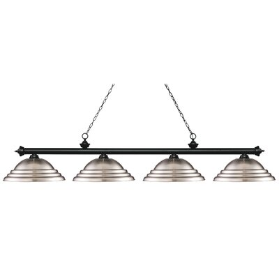 Zephyr 4-Light Metal Shade Billiard Light Shade Color: Brushed Nickel, Finish: Matte Black