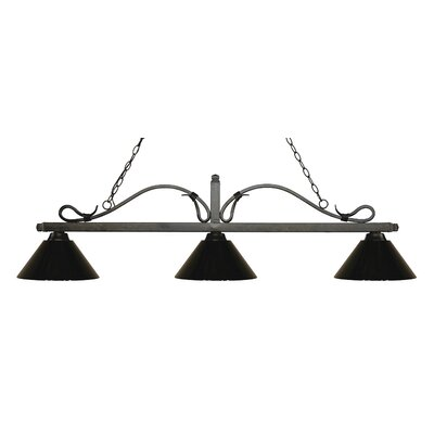 Melrose 3-Light Billiard Light Shade Color: Black, Finish: Golden Bronze