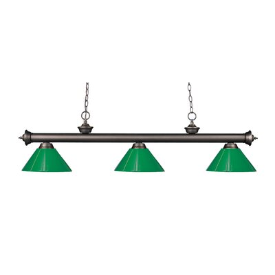 Zephyr Modern 3-Light Steel Billiard Light Shade Color: Green, Finish: Olde Bronze