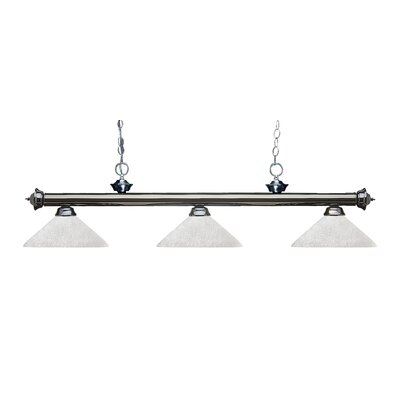 Zephyr Modern 3-Light Bell Shade Billiard Light Finish: Gun Metal, Shade Color: White Linen
