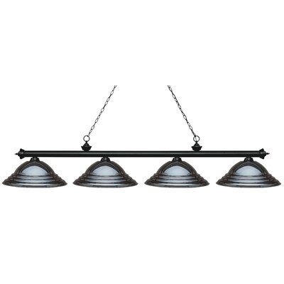 Zephyr 4-Light Metal Shade Billiard Light Finish: Matte Black, Shade Color: Gun Metal