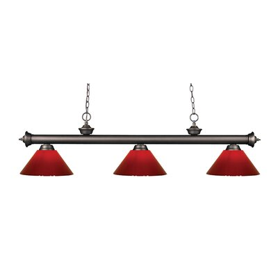 Zephyr Modern 3-Light Steel Billiard Light Finish: Olde Bronze, Shade Color: Red