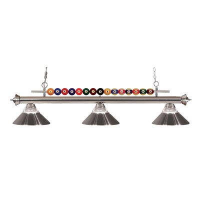 Chapa 3-Light Billiard Light Finish: Brushed Nickel, Shade Color: Clear / Brushed Nickel