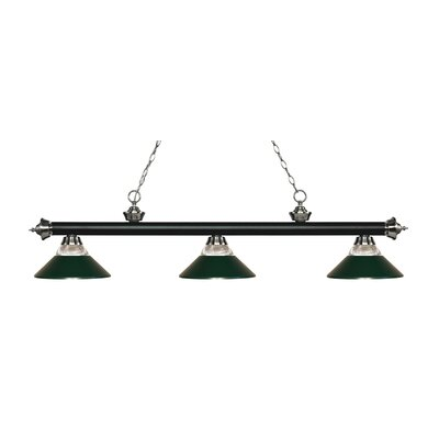 Riviera 3-Light Billiard Light Finish: Matte Black / Brushed Nickel, Shade Color: Dark Green