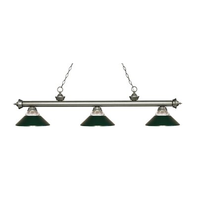 Riviera 3-Light Billiard Light Finish: Antique Silver, Shade Color: Dark Green