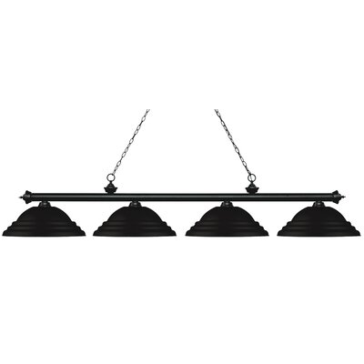 Zephyr 4-Light Metal Shade Billiard Light Finish: Matte Black, Shade Color: Matte Black