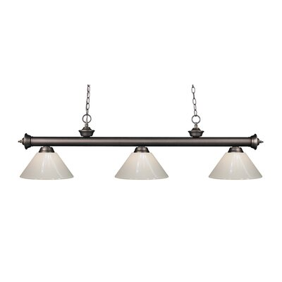 Zephyr Modern 3-Light Steel Billiard Light Finish: Olde Bronze, Shade Color: White
