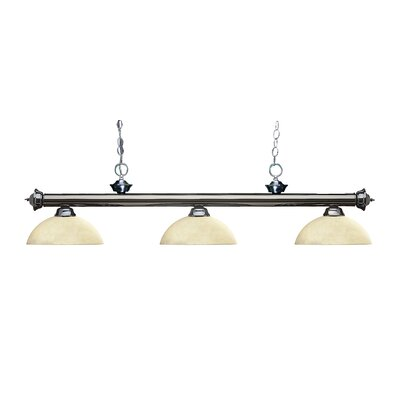 Zephyr 3-Light Bowl Glass Shade Billiard Light Finish: Gun Metal, Shade Color: Golden Mottle