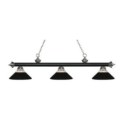 Riviera 3-Light Billiard Light Finish: Matte Black / Brushed Nickel, Shade Color: Matte Black