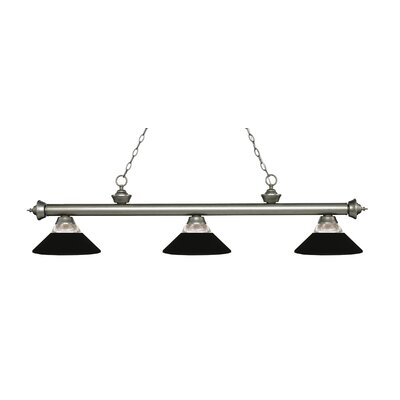 Billington 3-Light Billiard Light Color: Antique Silver, Shade Color: Matte Black
