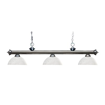 Zephyr 3-Light Bowl Glass Shade Billiard Light Finish: Gun Metal, Shade Color: White Linen