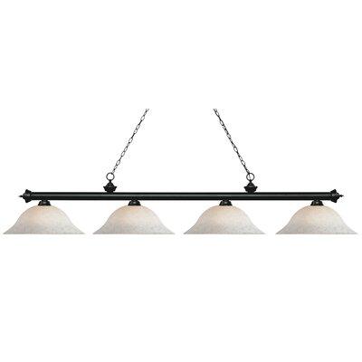 Zephyr 4-Light Billiard Light Finish: Matte Black, Shade Color: White Mottle, Size: 12.5 H x 82.5 W x 16 D