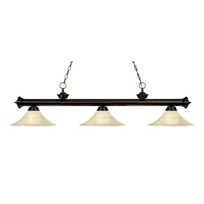 Zephyr 3-Light Bell Glass Billiard Light Finish: Bronze, Shade Color: Golden Mottle